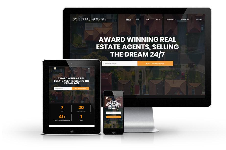 Real Estate Website Design sciberras web mockup 1 » October 25, 2021